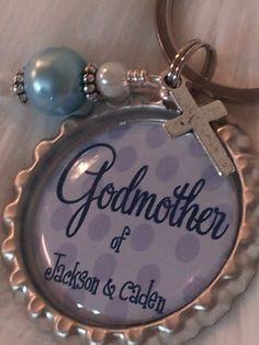 Godmother keychain, Godmother Gift, Personalized Christening gift, Godparent gift, Baptism Gift. $10.00, via Etsy.