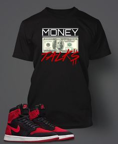 Graphic Money Talks T Shirt To Match Retro Air Jordan 1 Flynit Shoe Swag Outfits Men, Nike Outfits, Mens Sweatshirts, Mens Tees, Chicago Bulls Outfit, Matching Jordans, Teen Boy Fashion, Outfit Grid, Swagg