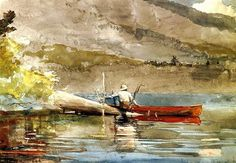 The Red Canoe by Winslow Homer, watercolor painting, 1889.