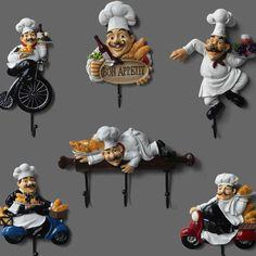 Decorative Coat Hooks, Coat Hooks On Wall, Wall Mounted Hooks, Wall Hanger, Coat Hanger, Bistro Kitchen Decor, Fat Chef Kitchen Decor, Kitchen Retro, Kitchen Hooks