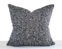 Black White Herringbone Pillow Cover, Black White Pillow, Men's Textured Cushion Cover, Grey Tweed  Masculine Throw Pillows 12x18, 20x20 NEW