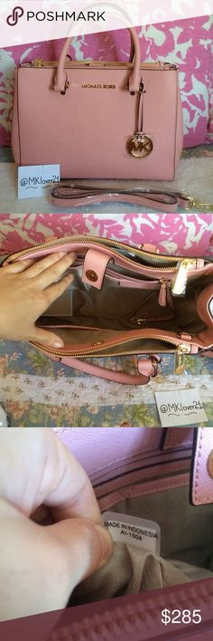 """Michael Kors light pink sutton satchel BRAND NEW WITHOUT TAG!!  100% Authentic Guranateed    Includes dust bag  Approx Measurements: 13"""" W x 9"""" H x 5"""" D  Saffiano leather  Color:Light pink  Double top handles with 4"""" drop; adjustable, detachable long strap with 20"""" drop  Magnetic snap closure  Logo medallion key chain; gold-tone hardware  Interior features 2 side zip compartments, open compartment with zip pocket, 4 slip pockets and key fob  NO TRADE!! Michael Kors Bags Satchels"""
