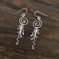 Spiral Earrings with Dangles, Argentium Silver, (Item# Custom Jewelry, Diy Jewelry, Jewelry Accessories, Handmade Jewelry, Jewelry Making, Handmade Wire Earrings, Jewelry Supplies, Jewellery, Artisan Jewelry