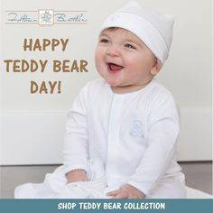 It's national teddy bear day! Shop our adorable teddy bear collection! We've got a beautiful teddy bear bobby suit, shortall set, booties, blanket, bib, hat, cardigan, diaper cover, and creeper for your little guy!  http://feltmanbrothers.com/search.php?search_query=teddy