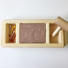 golf tees + clay + wooden mallet! What a fun hands on activity.  Montessori Inspired Toddler Discovery: Construction – This Merry Montessori