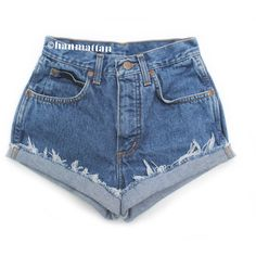 """ALL SIZES """"CLASSIC"""" Vintage high-waisted denim shorts blue cuffed... ($25) ❤ liked on Polyvore featuring shorts, bottoms, pants, short, denim short shorts, high rise jean shorts, vintage high waisted shorts, jean shorts and cuffed jean shorts"""