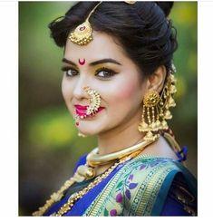 Saved by Deepali Marathi Bride, Marathi Wedding, Hindu Bride, Saree Wedding, Marathi Saree, Indian Bridal Makeup, Indian Bridal Fashion, Beautiful Saree, Beautiful Bride