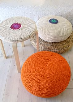 Pouf Crochet medium orange by lacasadecoto by khanittha Pouf En Crochet, Crochet Motifs, Crochet Cushions, Manta Crochet, Love Crochet, Crochet Home Decor, Crochet Crafts, Yarn Crafts, Crochet Projects