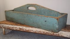 Huge Antique Carrier Tote Garden Tool Box Tray Old Robins Egg Blue Paint
