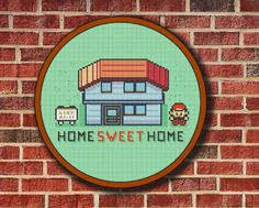 Home Sweet Home Colored Pokemon, Cross Stitch Pattern Digital PDF/JPG Instant Download green red house new stylish design - Buy 2 Get 1 Free on Etsy, $2.39