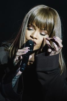 Rihanna performing in Budapest, Hungary