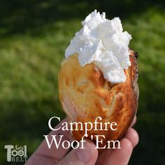 Campfire Woof 'Em How to make a Woof 'Em, a delicious campfire treat! Tutorial on how to make cheap woof 'em roasting sticks and yummy recipes to try with your woof 'ems while camping. Camping Desserts, Campfire Snacks, Camping Dishes, Camping Meals, Yummy Food, Yummy Recipes, Cooking Recipes, Cooking Videos, Savoury Biscuits