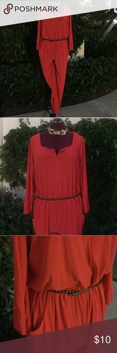 Fab red plus size jumpsuit I love this jumpsuit, but I've lost weight and it's too big now.  It's approximately a size 18 (1X), but it could be worn nicely oversized and works for larger sizes too (2X) because of the super comfy stretch of the material. It would be great for travel and is such a beautiful shade of red.  *Belt not included. CSC Pants Jumpsuits & Rompers