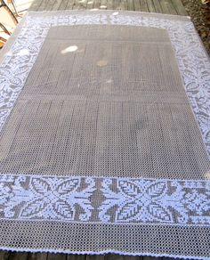 Filet Crochet Tablecloth French filet lace by HatchedinFrance