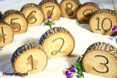 wedding tables, wood, rustic table, logs, tabl number