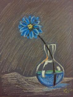 Blue flower: oil pastel on textured paper