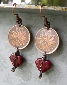Maple Leaf Coin Earrings, Dark Red Variegated Czech Glass Leaf Dangle, Wire Wrapped, Antiqued Copper, Canada 2012