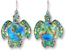 Sterling Earth Turtle Earrings