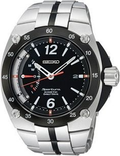 Seiko Men's SRG005 Sportura Stainless Steel Black Dial Automatic Watch