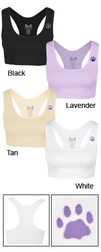 Seamless Comfort Purple Paw Sports Bra at The Animal Rescue Site