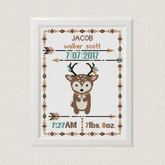 Cross stitch Birth announcement Deer cross stitch pattern boho