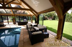 Enhance your pool building with beautifully crafted oak trusses.