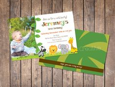 Jungle Birthday Invitation with Photo Custom by LookandSeaCreative, $10.00