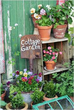 A cottage garden can incorporate quirky or funny ideas, like painted signs, that would not go with a more formal garden concept. The cottage garden projects Garden Cottage, Garden Pots, Backyard Cottage, Potted Garden, Shabby Cottage, Gravel Garden, Garden Bed, Shabby Chic, Vegetable Garden