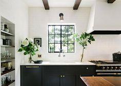 white kitchen.  dark cabinets.