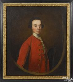 English oil on canvas portrait of a young man, early 19th c., 30'' x 25''. - Price Estimate: $400 - $700