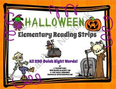 Halloween Elementary Reading Strips-All 220 Dolch Words on Keyring Cards from A_Teachers_Idea on TeachersNotebook.com (10 pages)  - This Halloween themed resource is a great way to get your kiddos reading and enjoying it too! These Dolch sight words are printed in vertical form on strips that are stored on keyrings. The 5 sets of Dolch words range from Preprimer to Grade 3 and are gro