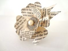 Flower brooch  recycled book corsage beige pearl by bookity, $28.00