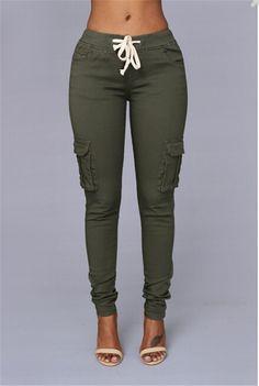 NATTEMAID High Recommend the most popular American Style khaki tight women jeans pants fashion side leg pocket girls capris - TakoFashion - Women's Clothing & Fashion online shop Pantalon Vert Olive, Cargo Pants, Jeans Pants, Dress Pants, Military Green Pants, Fashion Pants, Fashion Outfits, Fashion Sweatpants, Sweatpants Outfit