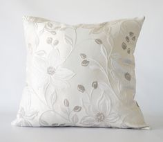 Silver Floral Pillow Cover
