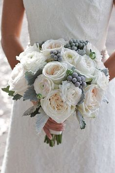 elegant white and blue winter wedding bouquets/ rustic chic winter wedding flowers