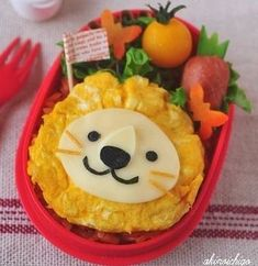 {Step by step photo tutorial} Lion Bento (Made from egg omelet & cheese) Lunch Box Bento, Bento Kids, Lunch Kids, Bento Kawaii, Cute Bento, Bento Recipes, Baby Food Recipes, Food Art Bento, Bento Tutorial