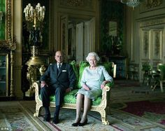 Power couple: Prince Philip sits alongside his beloved wife the Queen for a special portra...