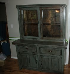Do you like this hutch?  How about the patina?  It has a Sioux Falls base paint, then umbered with stain, then tastefully distressed, and then several coats of a clear satin varnish.  It is one of a kind!!  I can also build one for you that you help design, from bottom to top!!    I invite you to see my creations at:    http://davescustomcreations.tumblr.com/