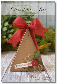 October 2014 - Connie Collins great alternative My Paper Pumpkin Project - Christmas tree box Christmas Tree Box, Christmas Paper Crafts, Stampin Up Christmas, Christmas Projects, Xmas, Stampin Up Paper Pumpkin, Pumpkin Cards, Stamping Up, Stampin Up Cards