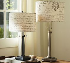 Rustoleum Gloss White on the lamp and the shade is covered with fabric using spray adhesive.