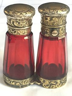 Antique Sampson Mordan Cranberry and Silver Gilt 'Binocular' scent bottle in Collectables, Vanity/ Perfume/ Grooming, Perfumes Cranberry Glass, Binoculars, Perfume, Luxury, Antiques, Bottles, Silver, Vanity, Image