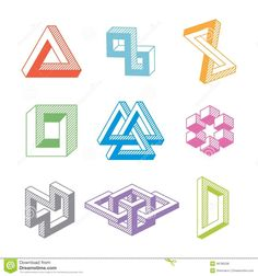 Find Colorful Impossible Geometric Shapes Vector Elements stock images in HD and millions of other royalty-free stock photos, illustrations and vectors in the Shutterstock collection. Thousands of new, high-quality pictures added every day. 3d Geometric Shapes, Geometric Symbols, 3d Shapes, Abstract Shapes, Art Optical, Optical Illusions, Distortion Photography, Orthographic Drawing, Impossible Shapes