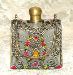 Vintage Perfume Bottle Purse Shaped Decorative Gems Filigree Frosted Glass Bottle.