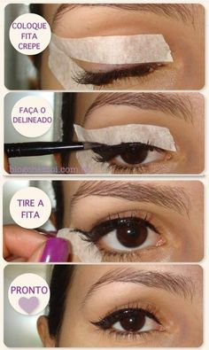Awesome Makeup Hacks Every Girl Should Know - Hative Makeup Hacks eye makeup hacks winged eyeliner Eyeliner Make-up, Makeup Hacks Winged Eyeliner, Winged Eyeliner With Tape, Crayon Eyeliner, Winged Eyeliner Tutorial, Simple Eyeliner, Perfect Eyeliner, How To Apply Eyeliner, Black Eyeliner