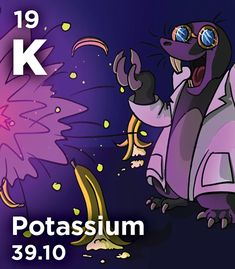 K - About of naturally-occurring potassium is a radioactive isotope, which means a potassium-rich banana can set off the more sensitive airport scanners; fortunately, your body doesn't absorb enough potassium to make it harmful Go Bananas, Chemistry, Periodic Table, Infographic, Board, Fictional Characters, Periodic Table Chart, Infographics, Periotic Table