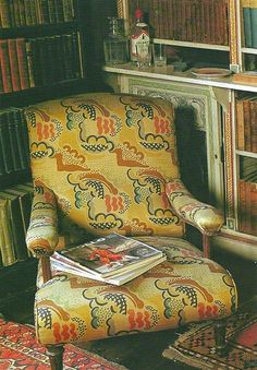 Duncan Grant's Cloud print on a chair at his home in England
