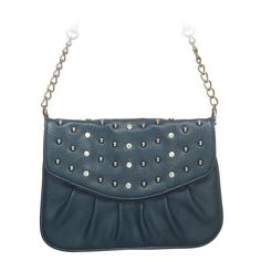 "Rae-Teal Grace Adele Clutch    Rae combines a simple shape with tough silver studs — perfect when you want to be elegant with an edge.     Fits inside the exterior pocket on your favorite Grace Adele bag.     • Faux leather  • 9"" L, 7"" H  • Detachable chain and 27.25"" faux leather strap    https://myfashions.graceadele.us/GraceAdele/Buy/ProductDetails/10616"