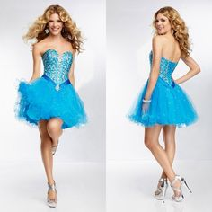 2014 New Arrival Ball Gown Sweetheart Homecoming Dresses With Beading Bodice Elegant Cascading Ruffles Dresses Women's Clothing $137.99