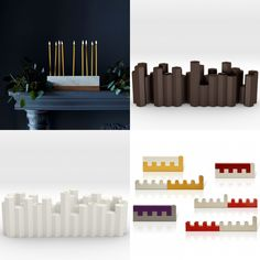 From top left: Vermont White Marble & Wood Menorah from Food 52, Honeycomb Menorah by Next Gen Judaica from Shapeways, Hex Menorah by Next Gen Judaica from Shapeways, Traveling Hanukkah menorah from Nadav Art