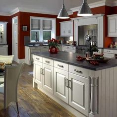 Traditional small kitchen design ideas traditional kitchen pictures white cabinets home decorators catalog rugs Kitchen On A Budget, Kitchen Redo, Kitchen White, Red Wall Kitchen, Kitchen Island, Red Kitchen Decor, Smart Kitchen, Kitchen Nook, Open Kitchen